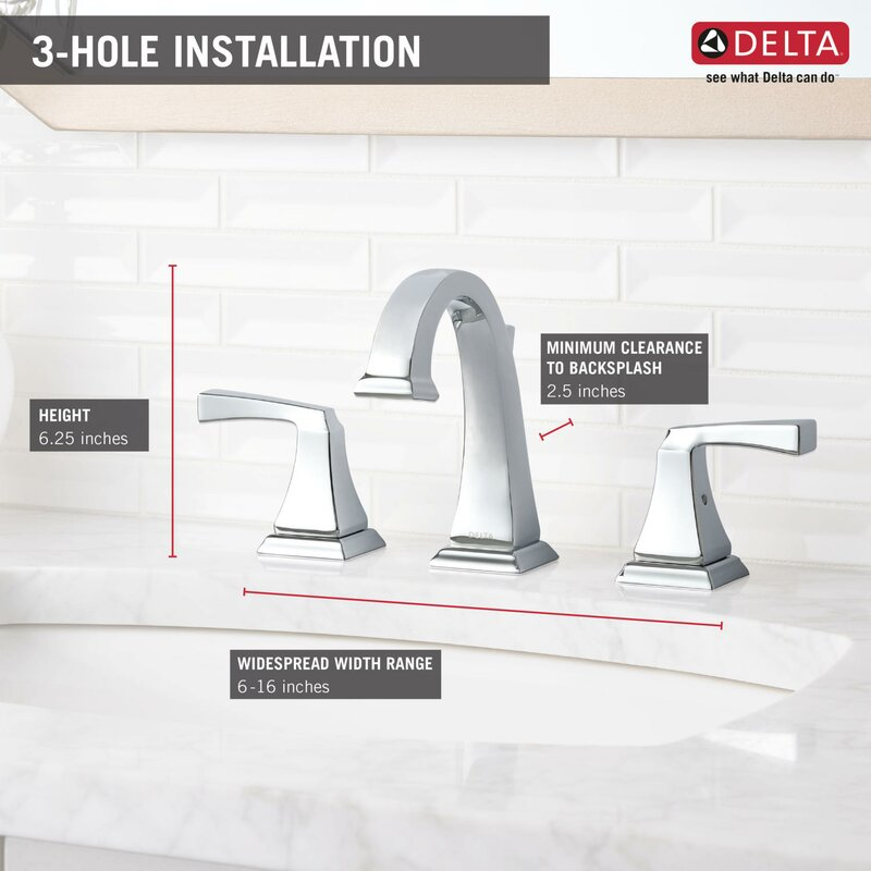 Delta Dryden® Widespread Bathroom Faucet with Drain Assembly and ...
