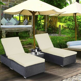Alcott Hill Lulu Reclining Chaise Lounge Set with Cushions and Table
