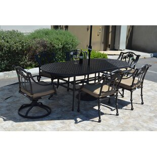 Maccharles 7 Piece Dining Set With Cushions by Bayou Breeze Best #1