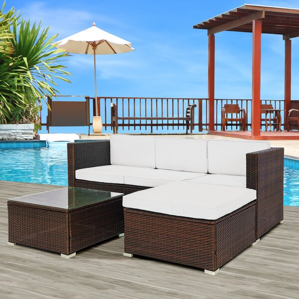 Latitude Run Adhithi 3 Piece Rattan Sectional Seating Group With Cushions Wayfair