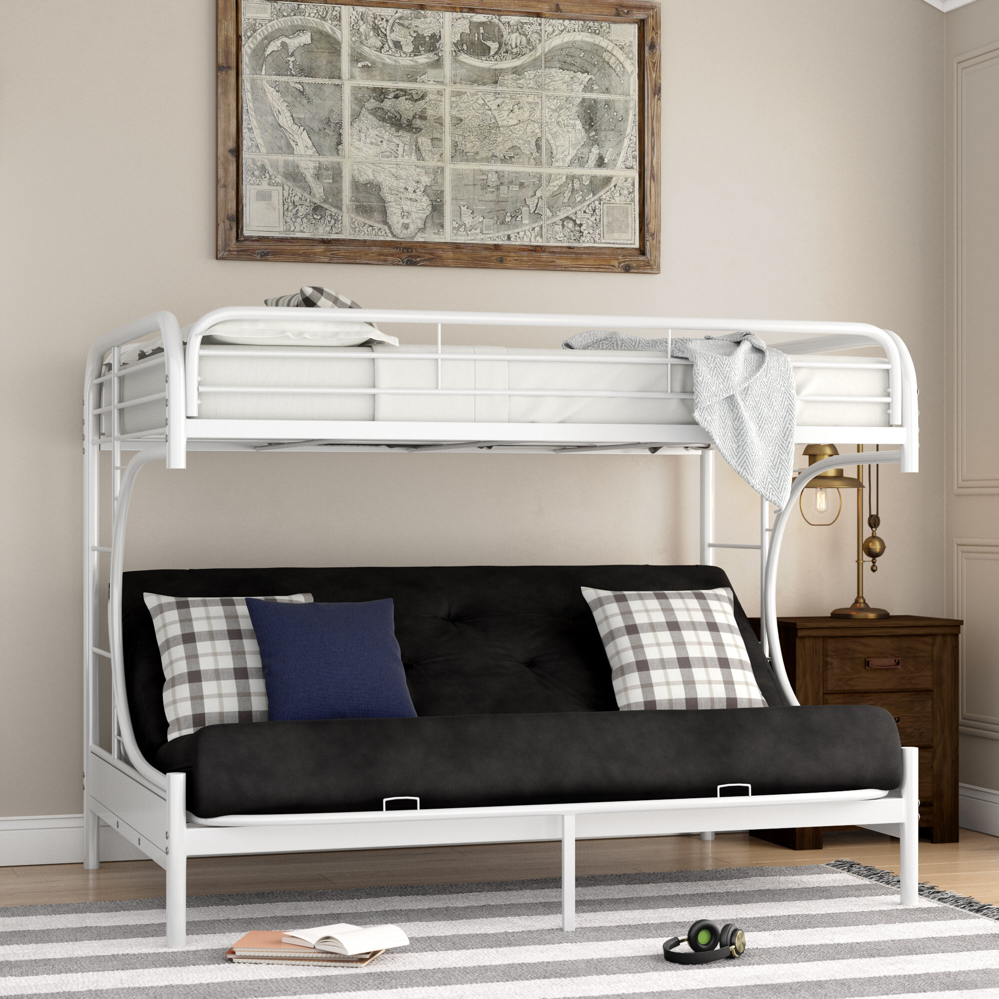 Zoomie Kids Kimble Twin Xl Over Queen Futon Bunk Bed Wayfair