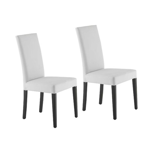 Lyon Upholstered Dining Chair (Set of 2) Marlow Home Co. Leg Colour: Walnut, Upholstery Colour: Genuine Leather - White
