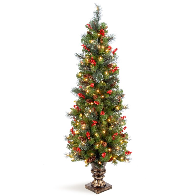 green faux spruce artificial christmas tree with 150 white lights and decorative base - White Fake Christmas Trees