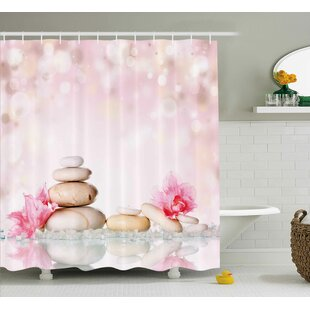 Shaleine Spa Bohemian Zen Stones and Soft Petals Therapy Tradition Chakra Yoga Asian Picture Single Shower Curtain