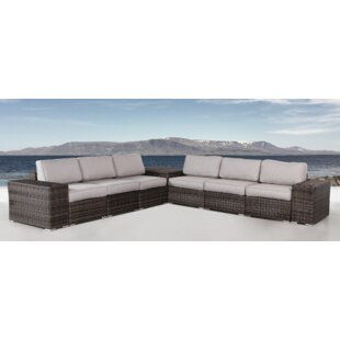 Bracknell Resort Grade Storage Cup Table 4 Piece Rattan Sectional Seating Group