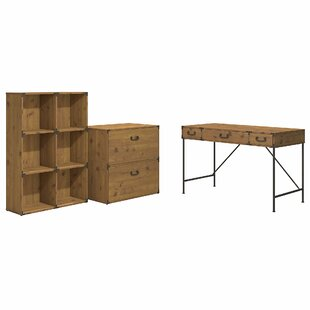Ironworks 3 Piece Desk Office Suite by Kathy Ireland Home Bush Furniture Spacial Price