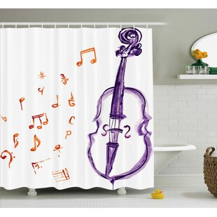 ashworth musical note black theme shower curtain - Musical Shower Curtains