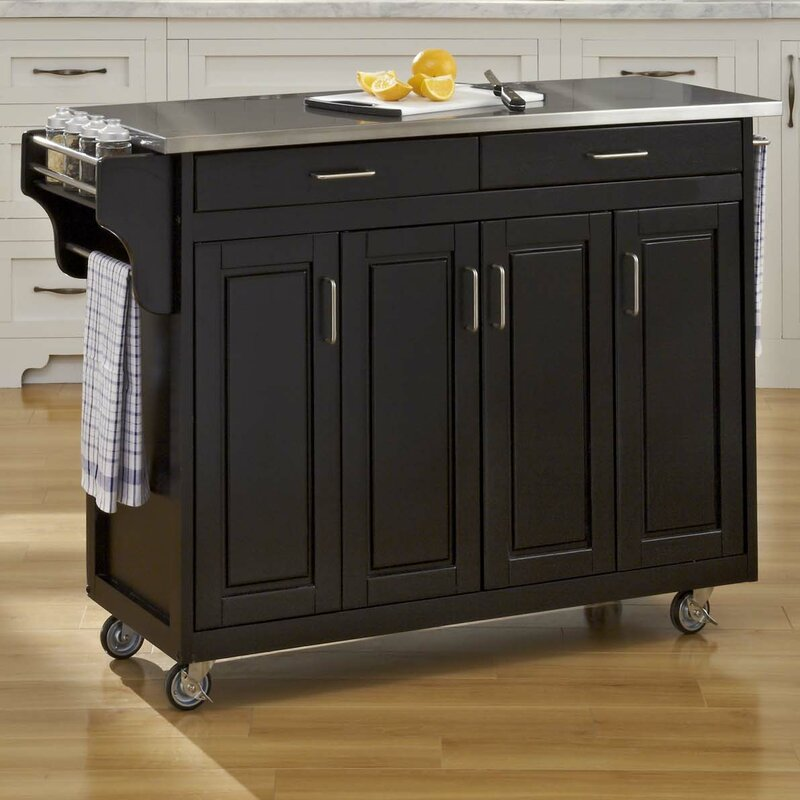 Perfect Regiene Kitchen Island With Stainless Steel Top