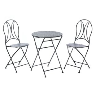 Zingz & Thingz Hammered Textured 3 Piece Bistro Set