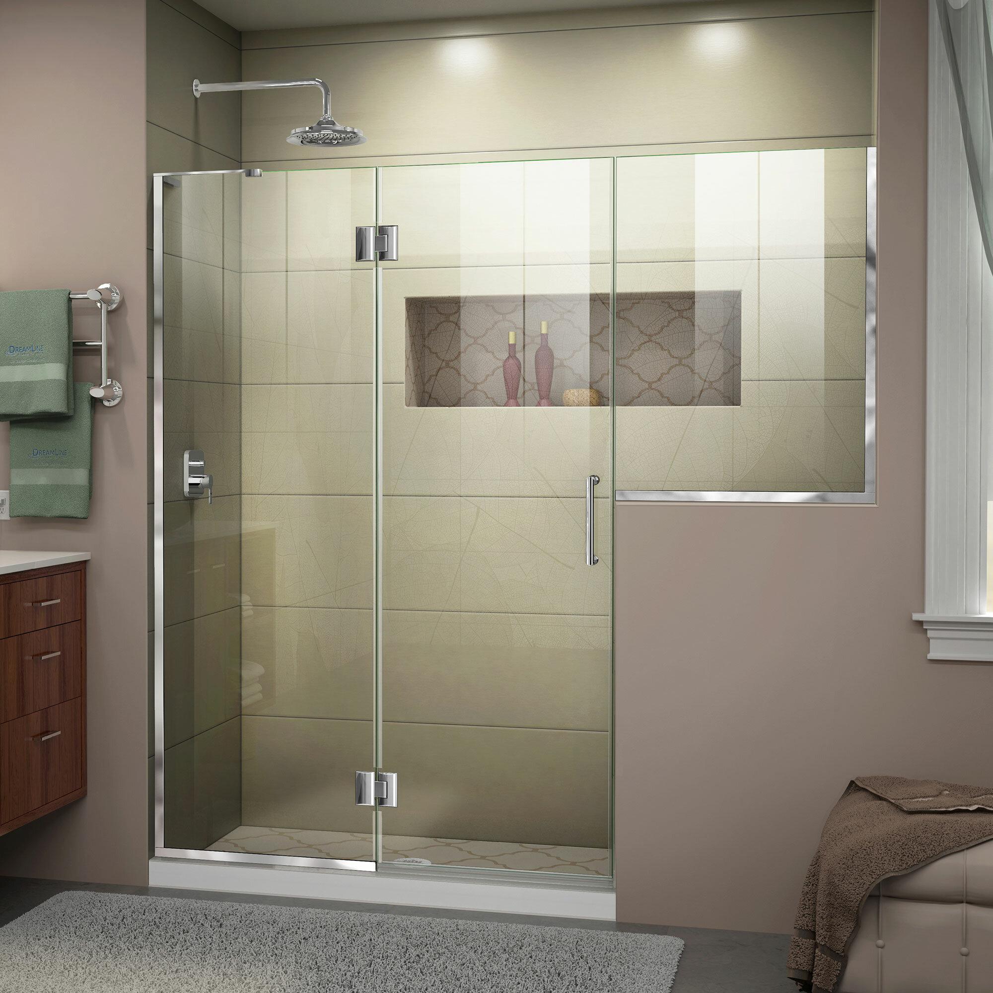 Unidoor X 66 66 1 2 In W X 72 In H Frameless Hinged Shower Door