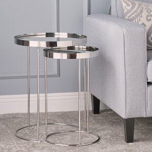 adcock mirror 2 piece nested table set