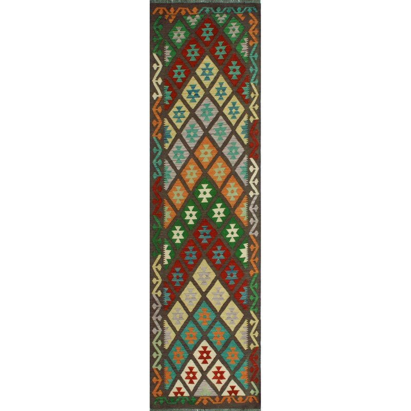 Foundry Select Hults Handmade Kilim Wool Red Green Brown Rug Wayfair
