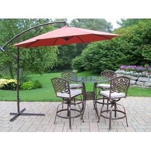 Hummingbird Mississippi 5 Piece Bar Height Dining Set with Cushions and Umbrella