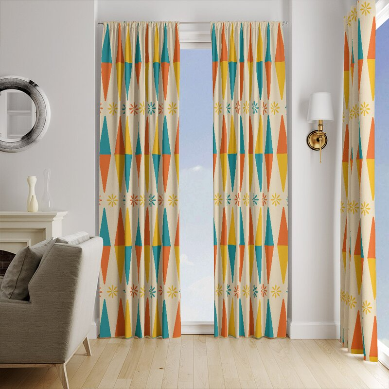 Folk N Funky Mid Century Modern Kites Geometric Semi Sheer Curtain Panels Wayfair