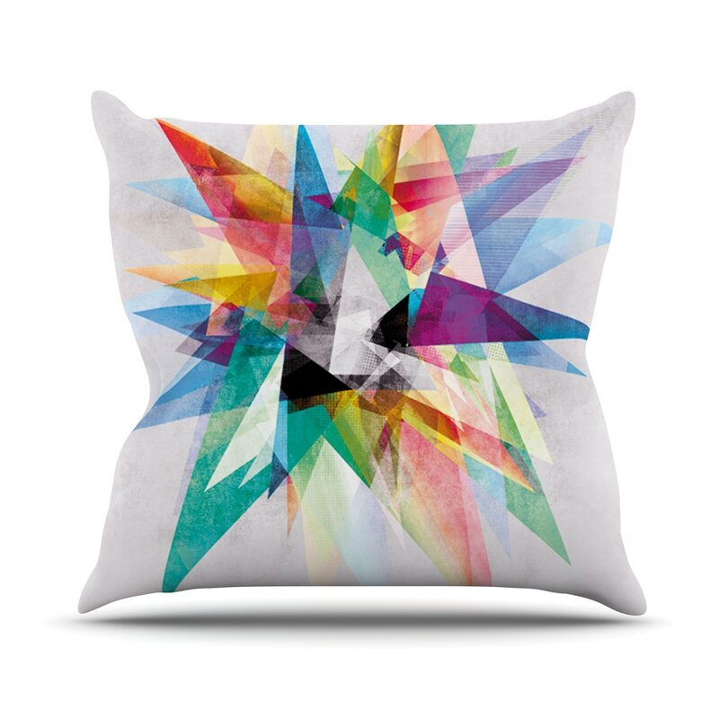 Kess Inhouse Colorful Rainbow Abstract Outdoor Throw Pillow