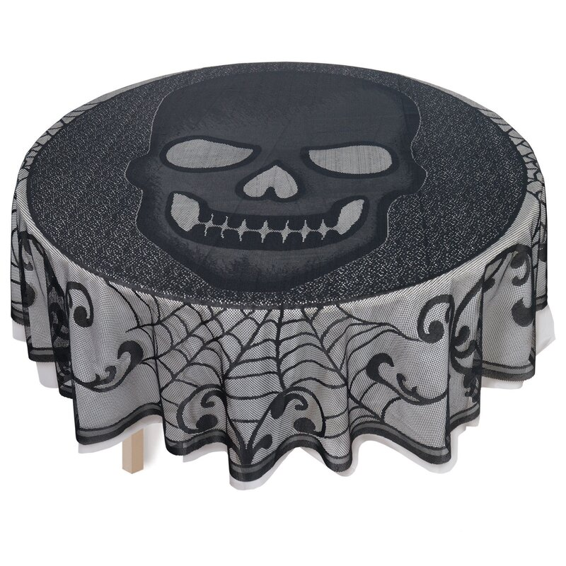Halloween Skull Lace Round Tablecloth