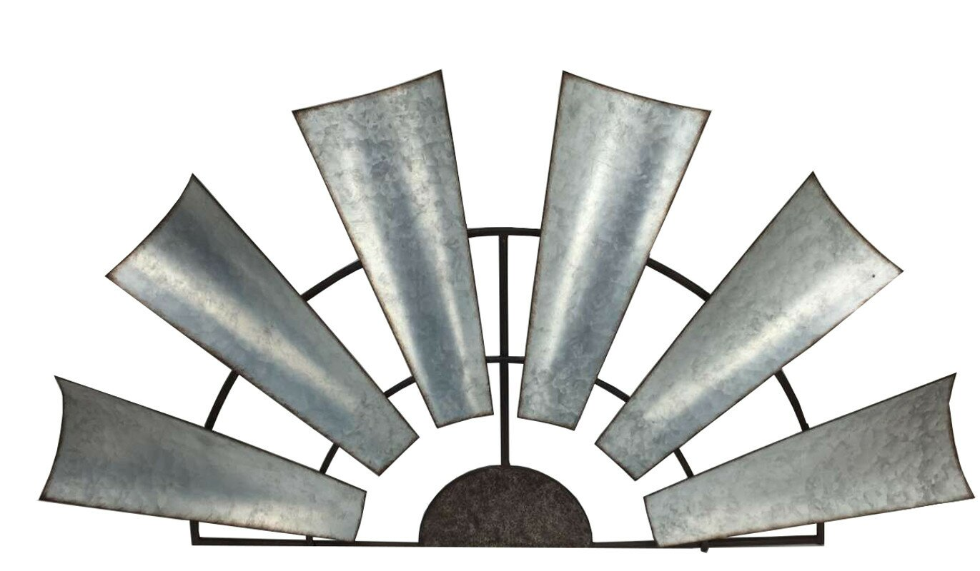Laurel foundry modern farmhouse galvanized metal half windmill galvanized metal half windmill wall dcor amipublicfo Gallery