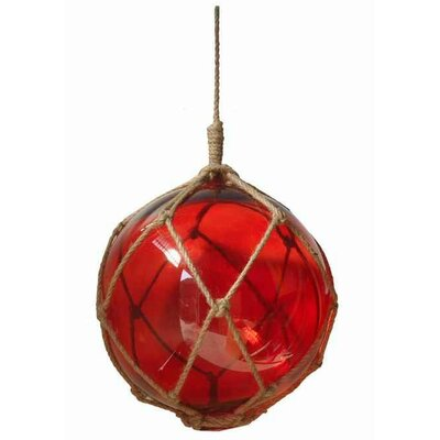 """Japanese Glass Ball Fishing Float Wall Décor Color: Red / Brown, Size: 10"""" H x 6"""" W x 6"""" D"""