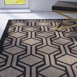 Olsene Black/Brown Indoor/Outdoor Area Rug by Mercer41
