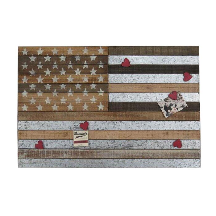 Horizontal Wooden American Flag Wall Decor
