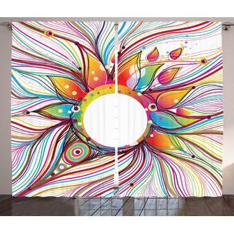 Red Barrel Studio Valente Watercolor Flower Graphic Print And Text Semi Sheer Rod Pocket Curtain Panels Wayfair