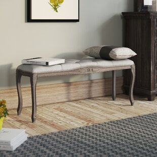 Vasquez Vintage French Upholstered Wood Bench by Ophelia & Co.