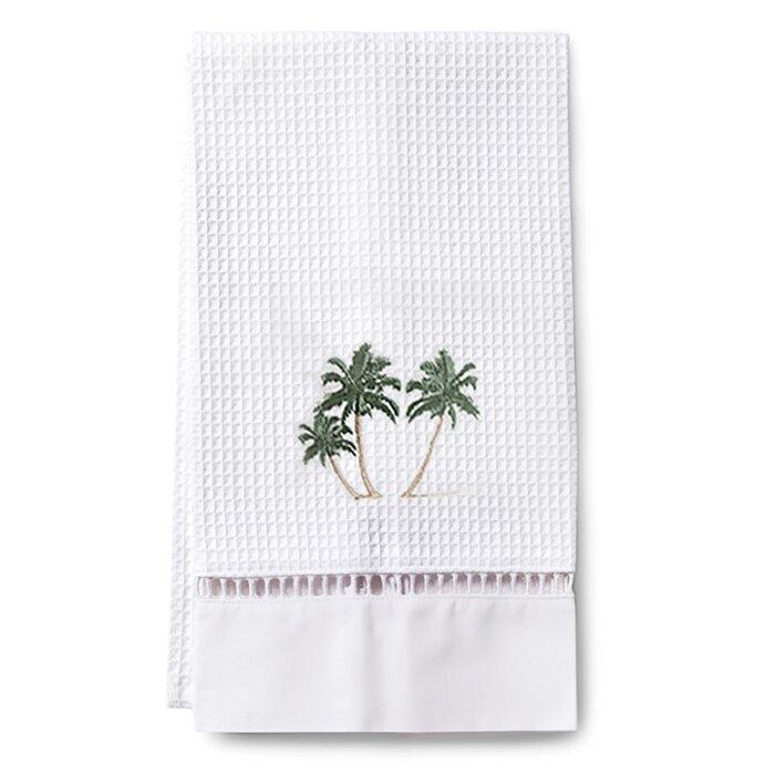 Teme Palm Tree Waffle Weave Guest Cotton Hand Towel