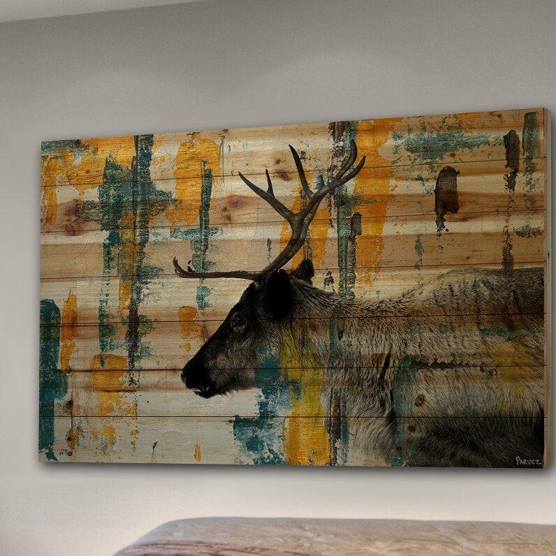 Millwood Pines Teal Yellow Reindeer By Parvez Taj Print On Wood Wayfair