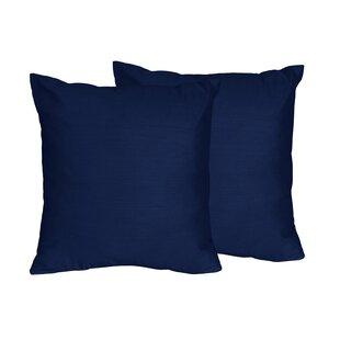 Chevron Solid Navy Blue Throw Pillows (Set of 2)
