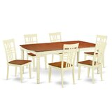 Parkridge 7 - Piece Butterfly Leaf Rubberwood Solid Wood Dining Set by August Grove®