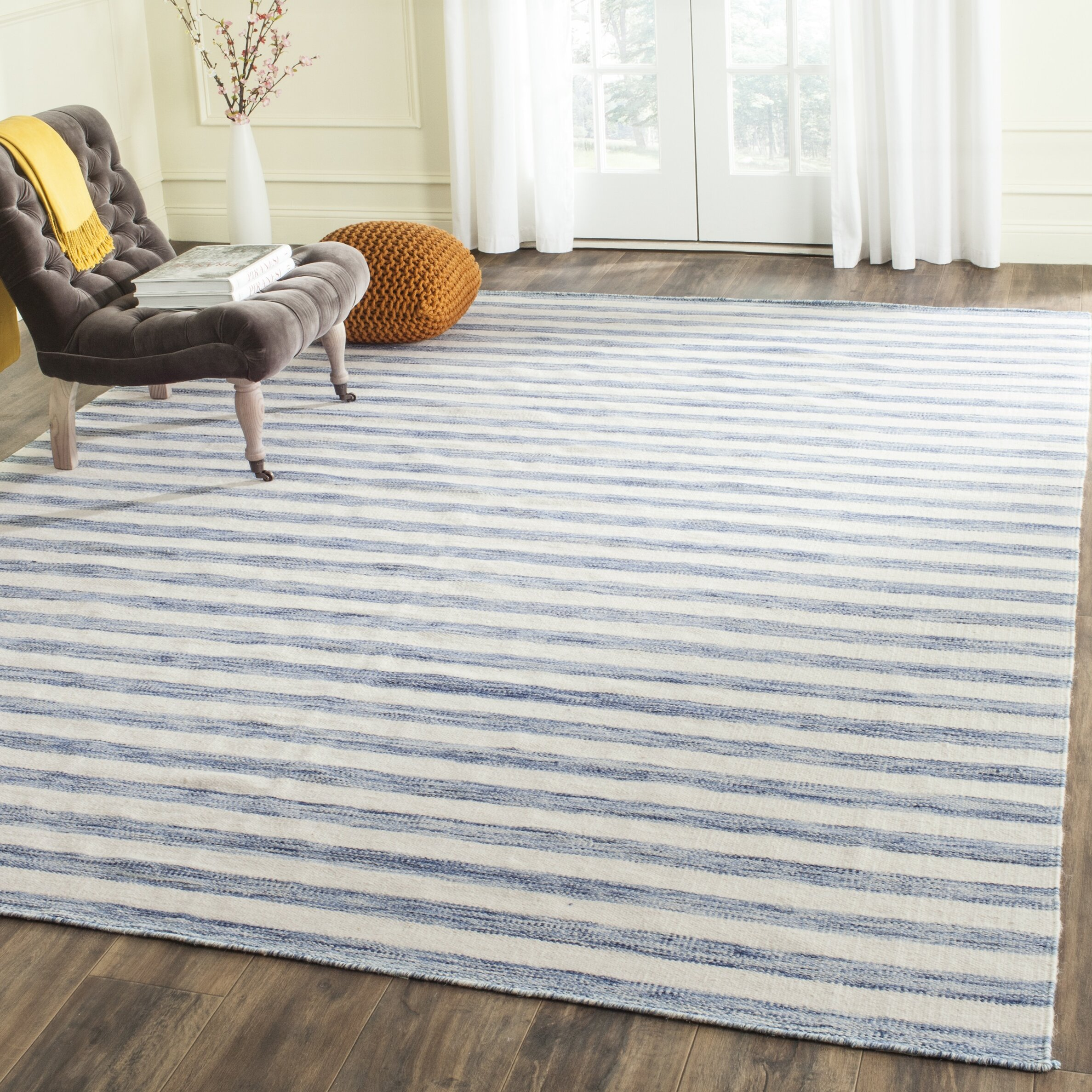Ebern Designs Rodgers Handwoven Flatweave Cotton Wool Blue Ivory Area Rug Reviews Wayfair