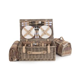 4 Person Tartan Picnic Basket By Union Rustic