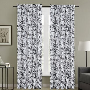 Central Nature Fl Sheer Rod Pocket Curtain Panels Set Of 2
