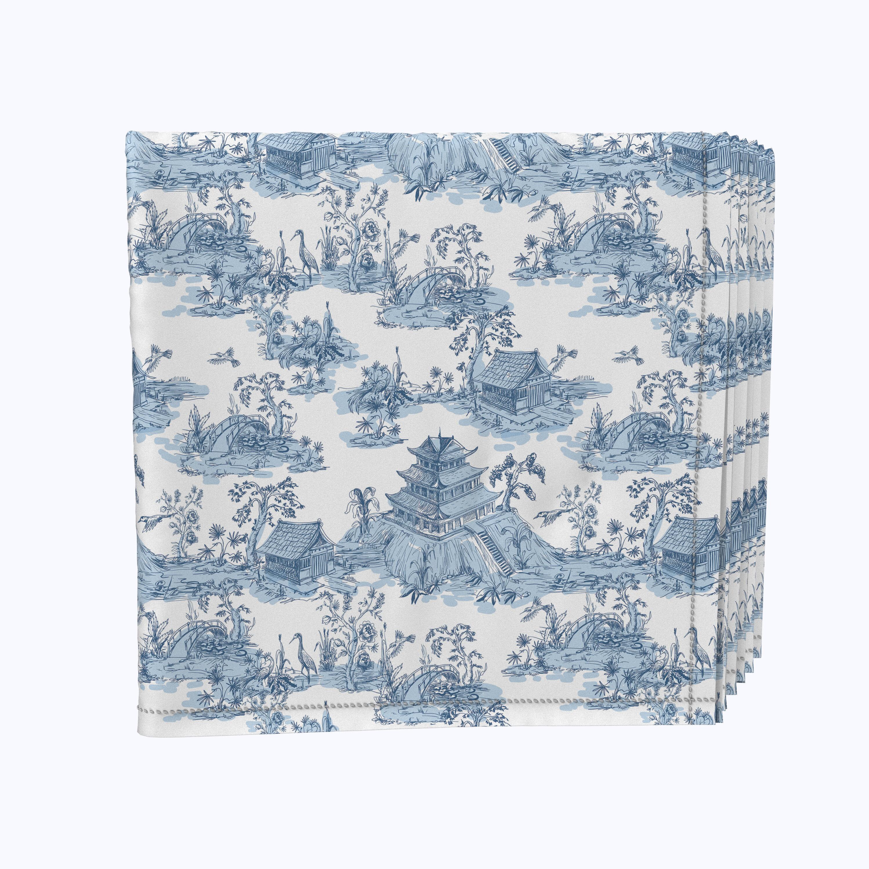Fabric Textile Products Inc Napkin Set 100 Milliken Polyester Machine Washable Set Of 12 18x18 Chinoiserie Design Wayfair