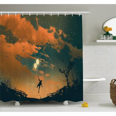 Balloons In The Sky Starry Night Lightness Of Being Shower Curtain Set