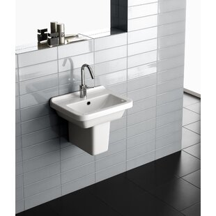 Reviews Erika Vitreous China 18 Semi Pedestal Bathroom Sink with Overflow By Bissonnet