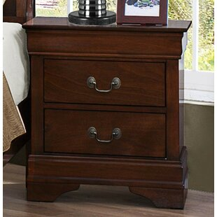 Leanos Wooden 2 Drawer Nightstand by Alcott Hill