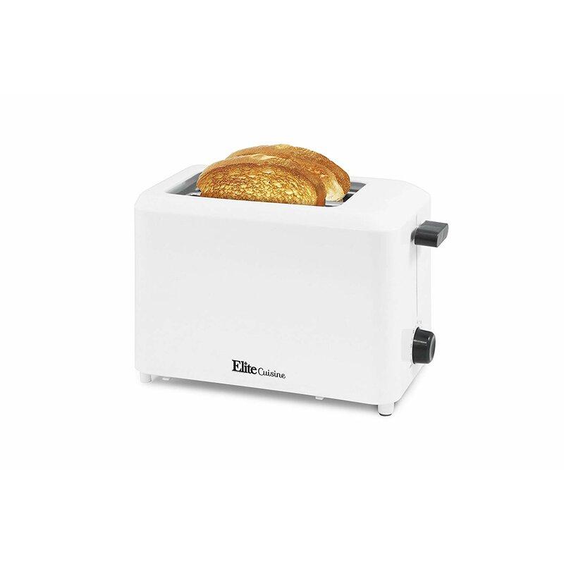 2 Slice Toaster Orange 800 Watt Cool Touch Exterior Kitchen Countertop Toasters