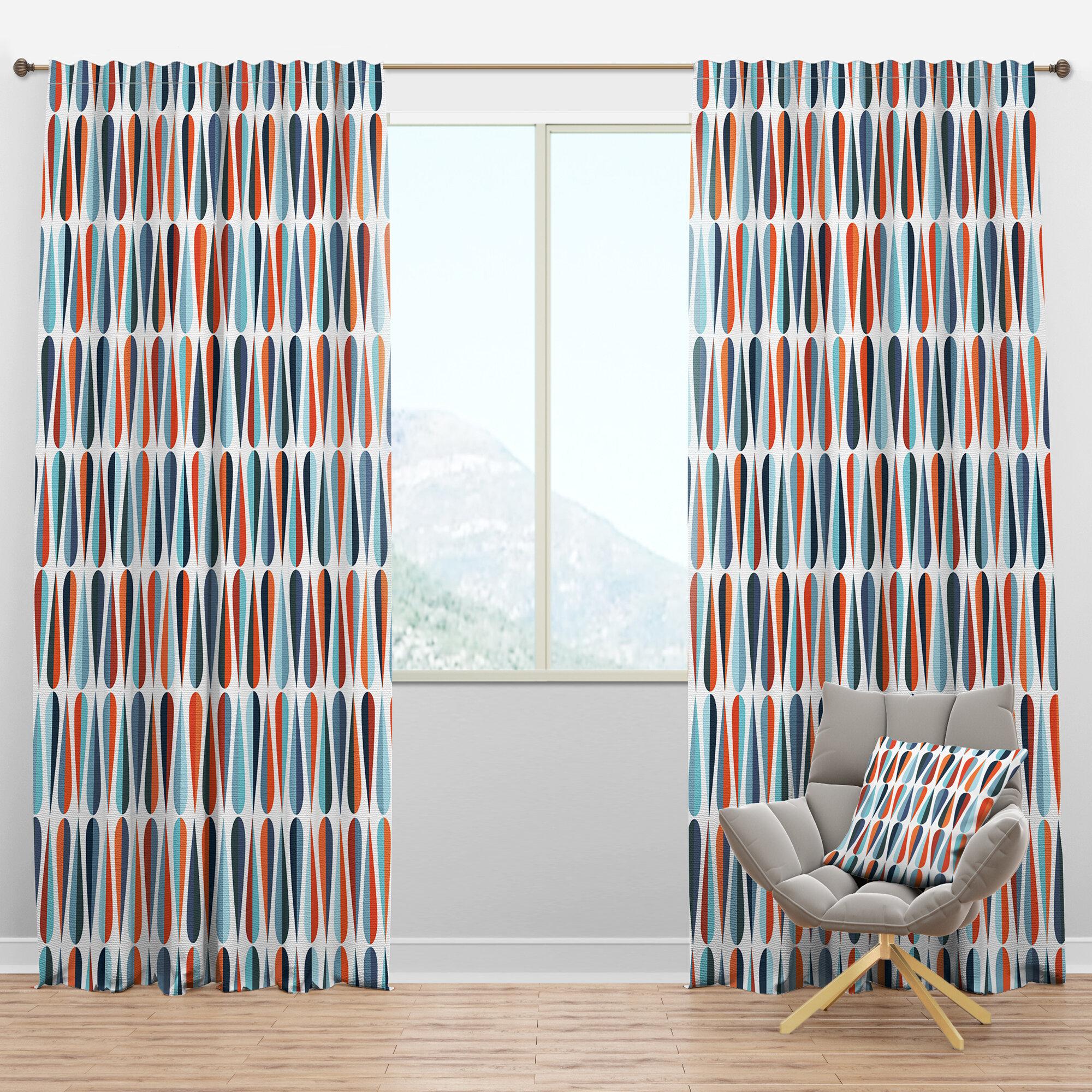 Designart Mid Century Drops V Semi Sheer Thermal Rod Pocket Single Curtain Panel Wayfair