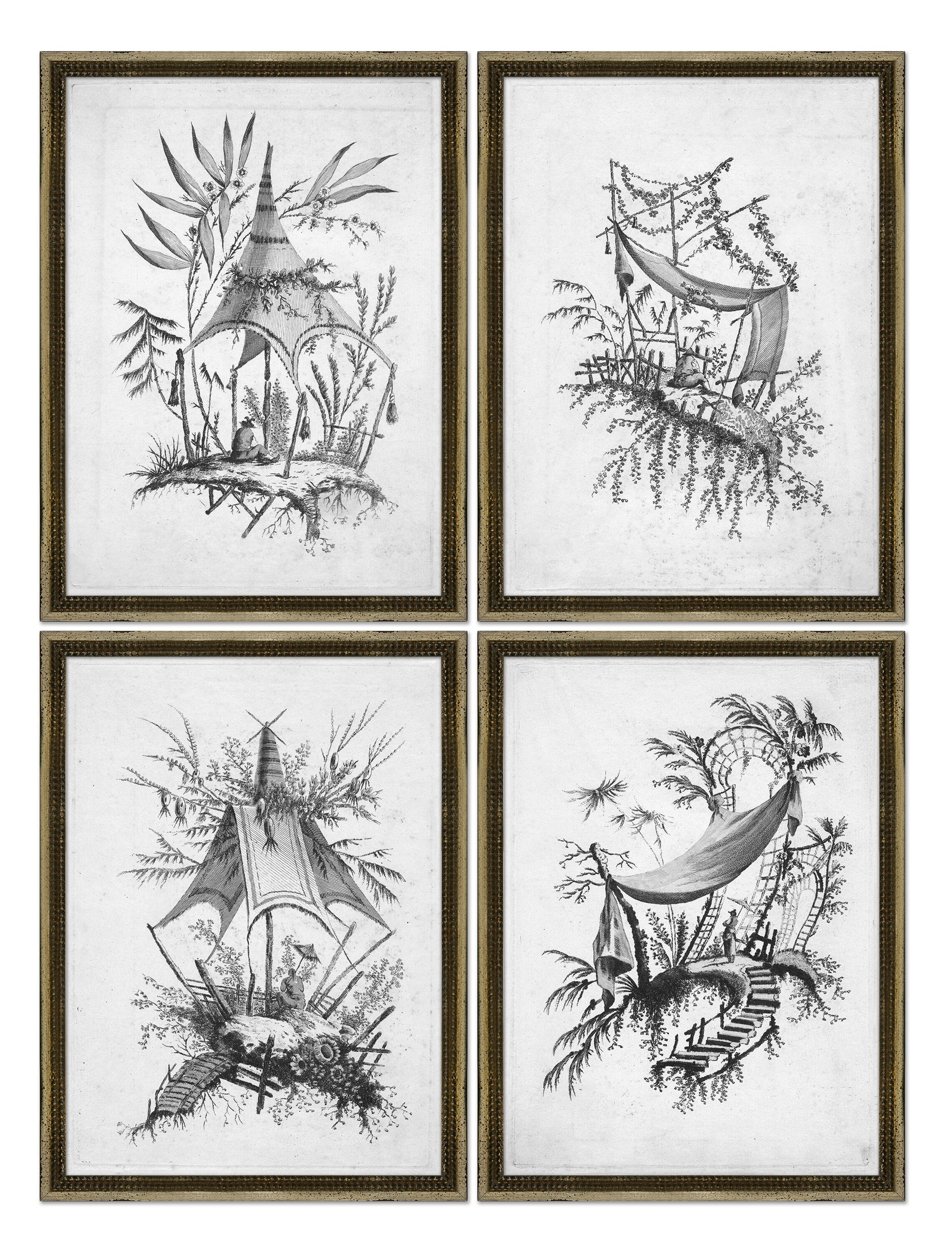 Soicher Marin Asian Etching 4 Piece Picture Frame Painting Print Set On Paper Perigold