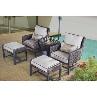 Falmouth 5 Piece Rattan Conversation Set with Cushions