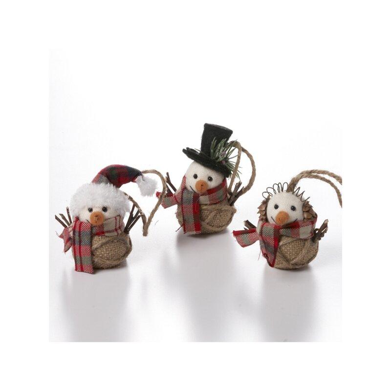 The Holiday Aisle 3 Piece Snowmen Hanging Figurine Ornament Set Wayfair