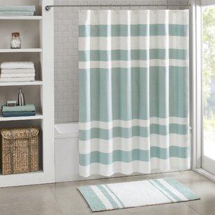 Blue Ticking Shower Curtain