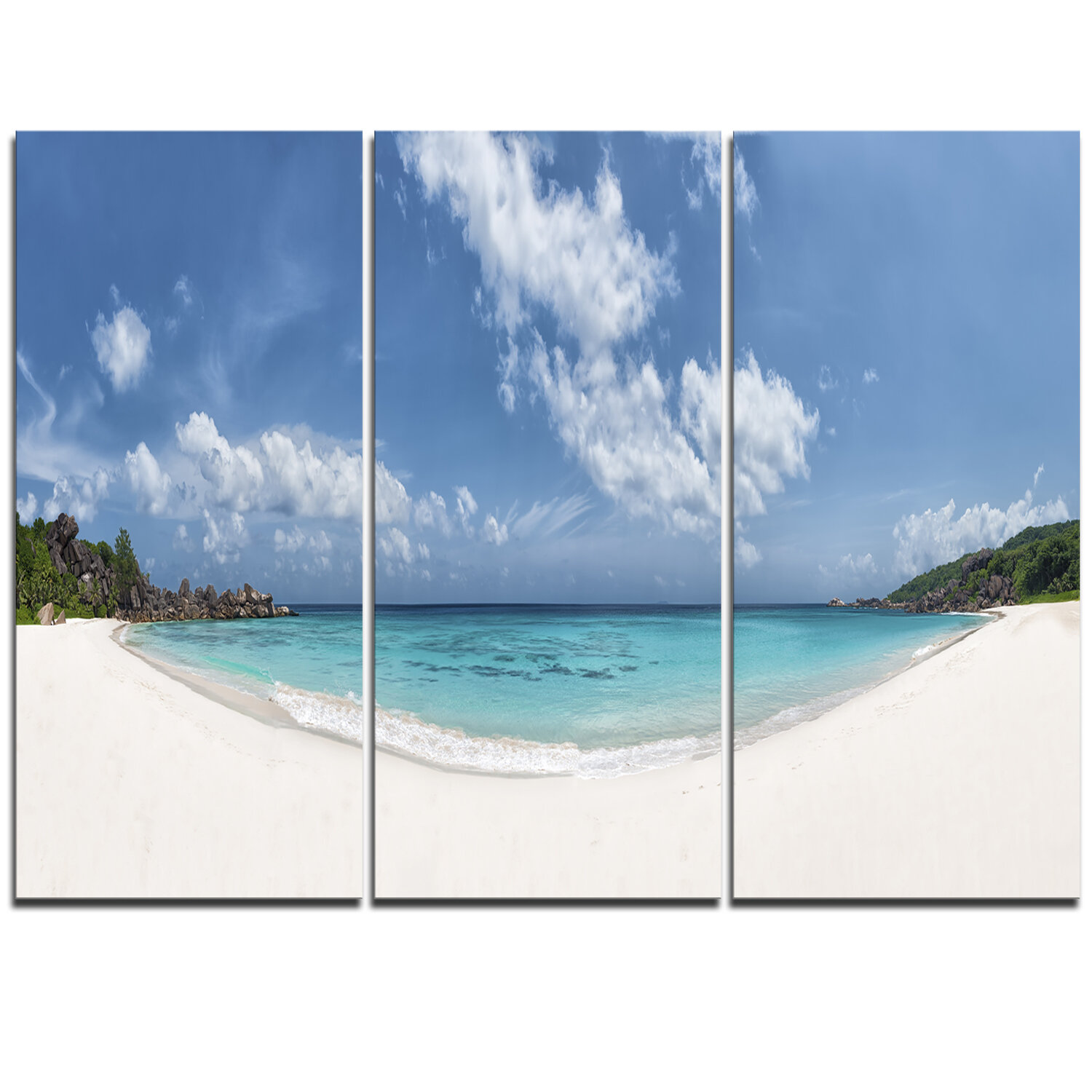 Designart Majestic Seychelles Beach Panorama 3 Piece Graphic Art On Wrapped Canvas Set Wayfair