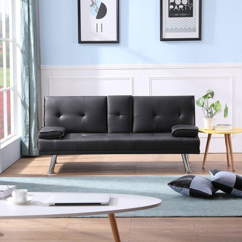 Latitude Run Twin Or Smaller 65 7 Tufted Back Convertible Sofa Wayfair