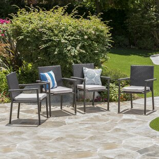 Brooklet Stacking Patio Dining Chair with Cushion (Set of 4)