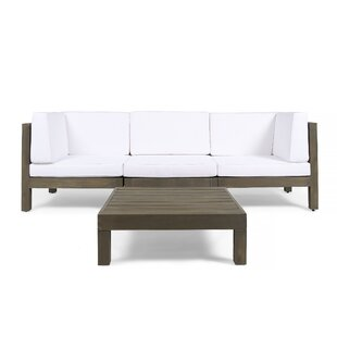 Laguna 4 Piece Teak Sofa Seating Group with Cushions