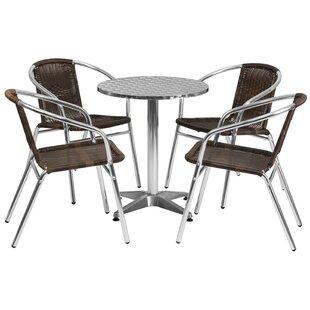 Koa Round Indoor Outdoor 5 Piece Bar Height Dining Set