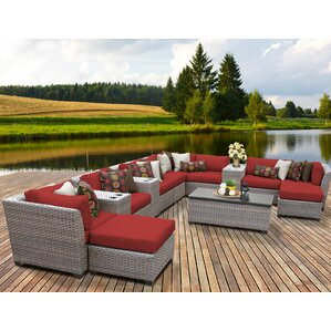 Florence Outdoor Wicker 14 Piece Sectional Seating Group With Cushion Part 62