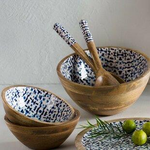 Janae Enamel Coated Mango Wood 3 Piece Serving Bowl Set